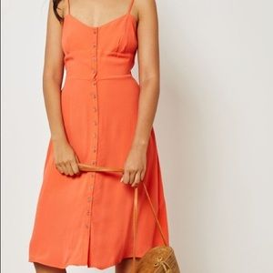 Button Front Cami Mid-length Short Casual Dress